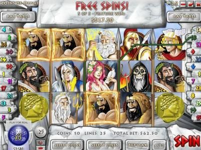 Winbig21 featuring the Video Slots Coins of Olympus with a maximum payout of $10,000