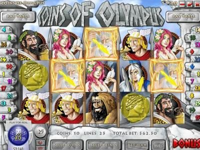 Supernova featuring the Video Slots Coins of Olympus with a maximum payout of $10,000