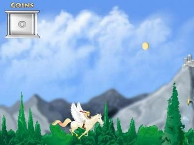 The start of the bonus round, use the mouse to kind Pegasus up and down to collect the gold coins