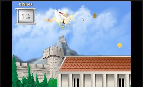 Moving Pegasus up and down to collect the gold coins.