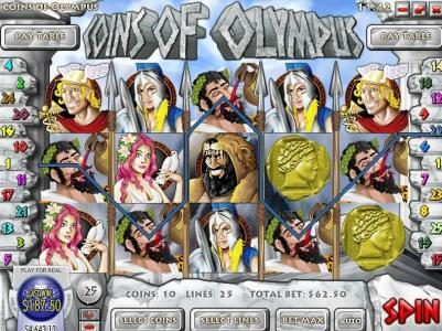 Play slots at Royal Planet: Royal Planet featuring the Video Slots Coins of Olympus with a maximum payout of $10,000