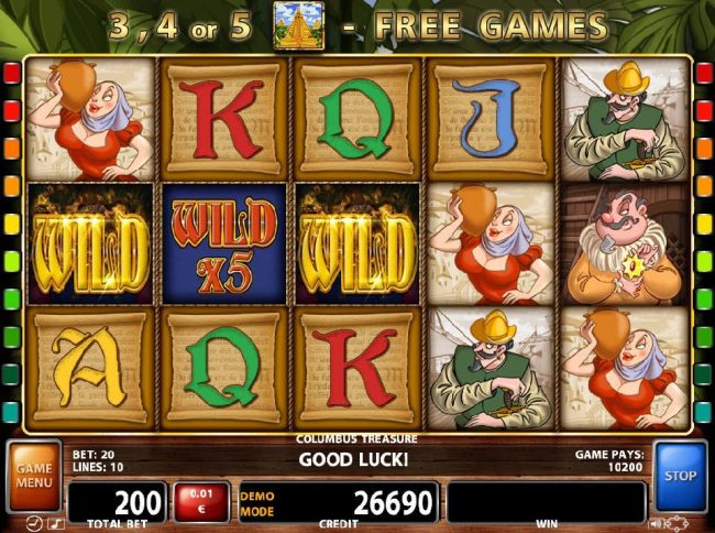 21 Nova featuring the Video Slots Columbus Treasure with a maximum payout of $500,000