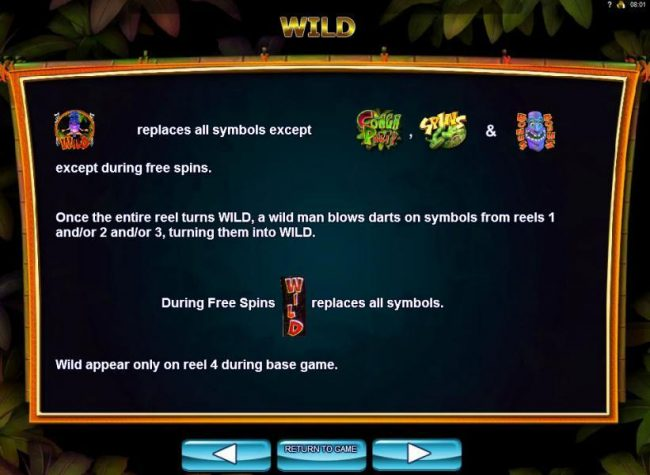 Wild replaces all symbols except Conga Party, Spins and Mask Bonus symbols, except during free spins.