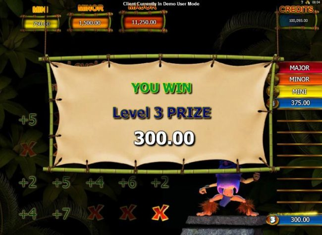 Conga Rocks bonus game pays out a total of 300.00