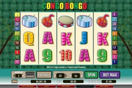 Play slots at DruckGluck: DruckGluck featuring the video-Slots Congo Bongo with a maximum payout of 6,000x