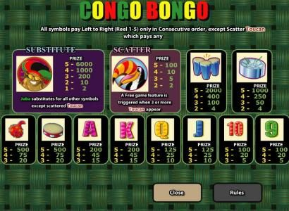 Ocean Bets featuring the video-Slots Congo Bongo with a maximum payout of 6,000x