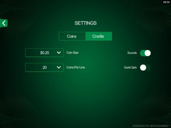 Cool Buck 5 Reel :: Click on the side menu button to adjust the Lines or Coin Size.