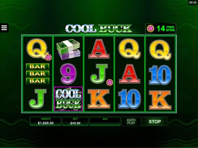 Tivoli featuring the Video Slots Cool Buck 5 Reel with a maximum payout of $107,500