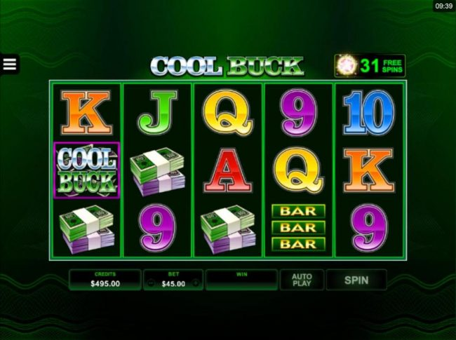 Cool Buck 5 Reel :: Collecting 30 or more pink star tokens will automatcially trigger the Free Spins feature.