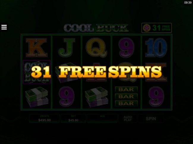 31 Free Spins awarded.