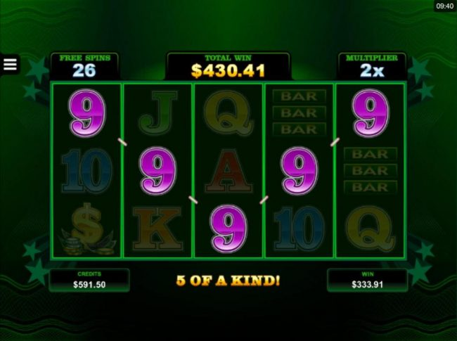 Cool Buck 5 Reel :: A winning Five of a Kind triggers a big win during the Free Spins feature.