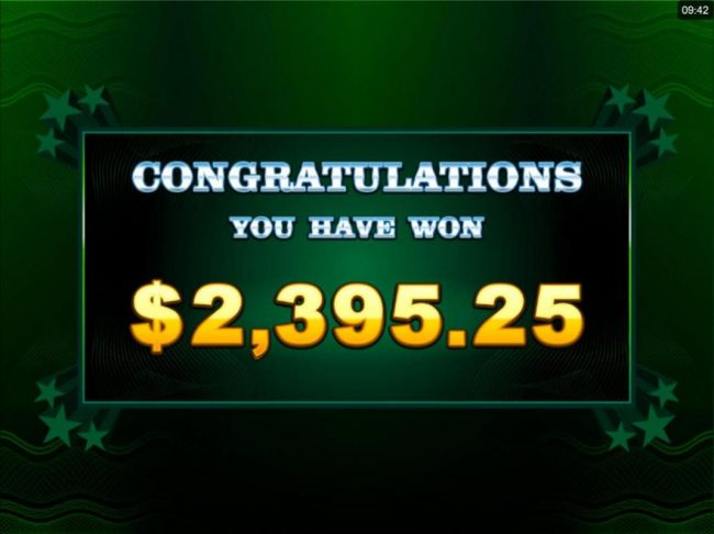 Cool Buck 5 Reel :: A 2,395.25 total prize awarded for Free Spins play.