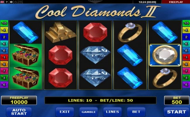 Svedala featuring the Video Slots Cool Diamonds II with a maximum payout of $125,000