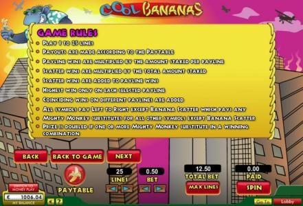 Cool Bananas :: Game Rules