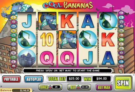 Liberty Slots featuring the Video Slots Cool Bananas with a maximum payout of $50,000