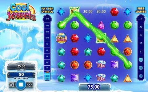 Zinger Spins featuring the Video Slots Cool Jewels with a maximum payout of $250,000