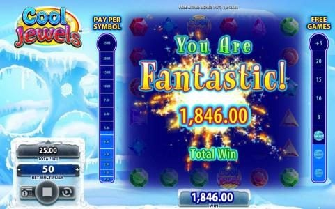 a 1,846.00 big paid out after completeing the free games bonus feature.