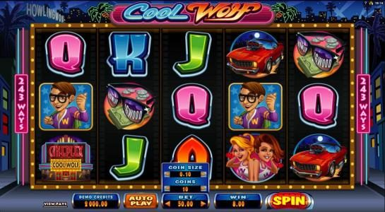 Queen Vegas featuring the Video Slots Cool Wolf with a maximum payout of $525,000