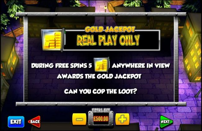 Clover Casino featuring the Video Slots Cop the Lot with a maximum payout of $1,000,000