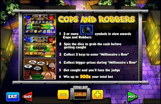 Fika Casino featuring the Video Slots Cop the Lot with a maximum payout of $1,000,000