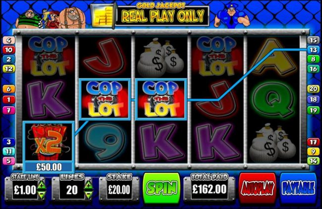 Grand Ivy featuring the Video Slots Cop the Lot with a maximum payout of $1,000,000