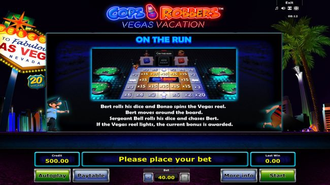 My Bet featuring the Video Slots Cops 'n' Robbers Vegas Vacation with a maximum payout of $40,000