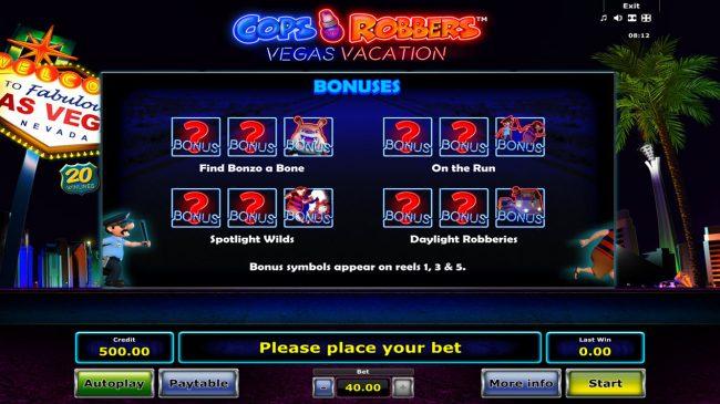 Cops 'n' Robbers Vegas Vacation :: Bonuses