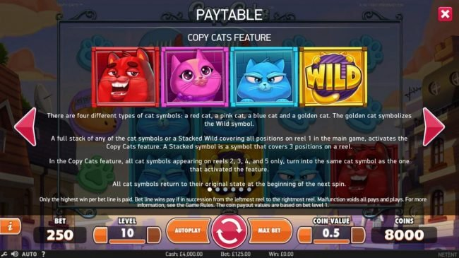 Guts featuring the Video Slots Copy Cats with a maximum payout of $2,000