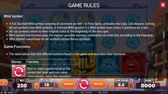 Free Spins featuring the Video Slots Copy Cats with a maximum payout of $2,000