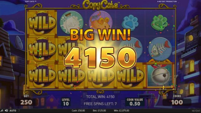Copy Cats :: Copy Cats Wild Feature triggers a 4150 coin big win during the free games feature.