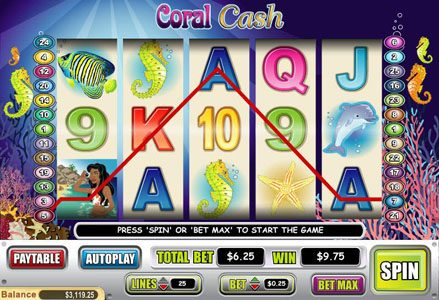 Liberty Slots featuring the Video Slots Coral Cash with a maximum payout of $80,000