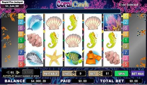 Queen Vegas featuring the video-Slots Coral Cash with a maximum payout of 8,000x