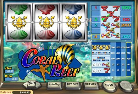 Lincoln featuring the Video Slots Coral Reef with a maximum payout of $20,000
