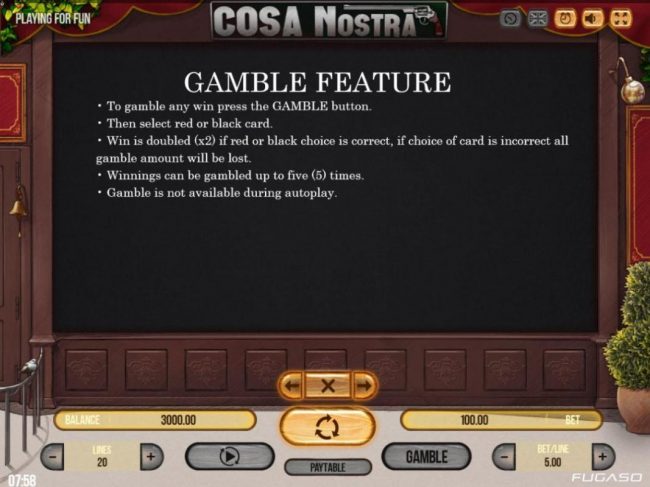 LaFiesta featuring the Video Slots Cosa Nostra with a maximum payout of $50,000