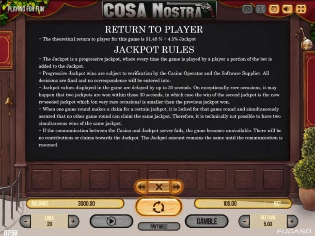 14 Red Casino featuring the Video Slots Cosa Nostra with a maximum payout of $50,000