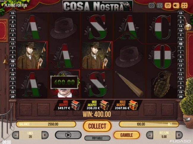 Lord of the Spins featuring the Video Slots Cosa Nostra with a maximum payout of $50,000