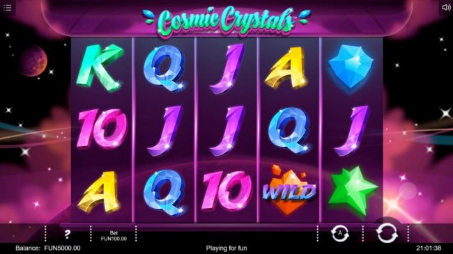 Cosmic Crystals :: Main game board featuring five reels and 50 paylines with a $50,000 max payout.