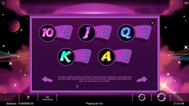 Cosmic Crystals :: Low value game symbols paytable.