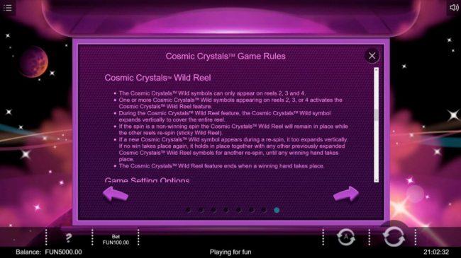 Cosmic Crystals :: Wild Reel Rules