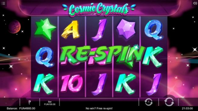 Cosmic Crystals :: Every non-winning spin triggers a Re-Spin.