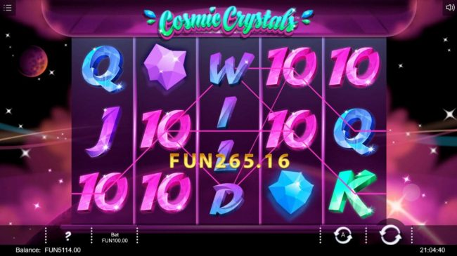 Cosmic Crystals :: Stacked wild symbol triggers multiple winning symbol combinations leading to a 265.00 jackpot