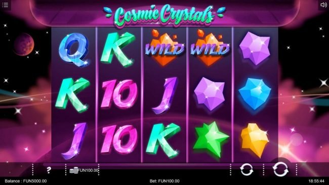Spin Station featuring the Video Slots Cosmic Crytsals with a maximum payout of $10,000