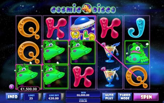 Cosmic Disco :: Multiple winning paylines triggers a big win!