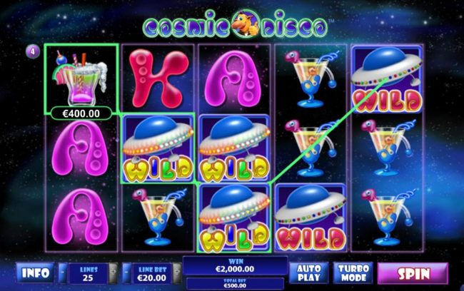 Play slots at Videoslots: Videoslots featuring the Video Slots Cosmic Disco with a maximum payout of $500,000