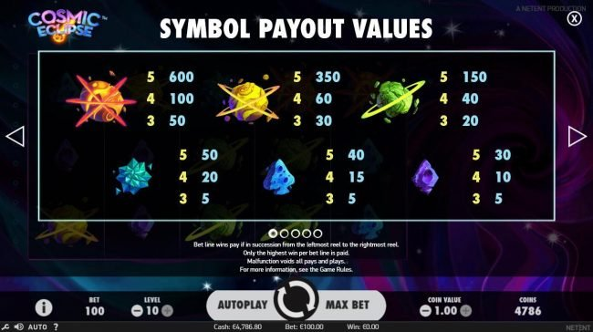 Dasistcasino featuring the Video Slots Cosmic Eclipse with a maximum payout of $60,000
