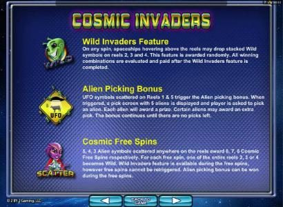 Crystal featuring the Video Slots Cosmic Invaders with a maximum payout of $3,750