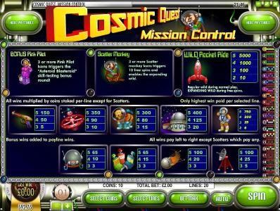 Desert Nights Rival featuring the Video Slots Cosmic Quest Mission Control with a maximum payout of $12,500