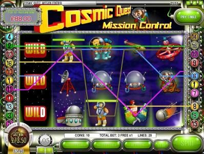 Play slots at DaVincis Gold: DaVincis Gold featuring the Video Slots Cosmic Quest Mission Control with a maximum payout of $12,500