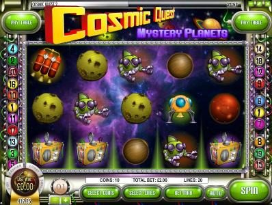 Play slots at Domgame: Domgame featuring the Video Slots Cosmic Quest Mystery Planets with a maximum payout of $12,500