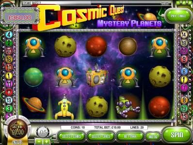 Mayan Fortune featuring the Video Slots Cosmic Quest Mystery Planets with a maximum payout of $12,500